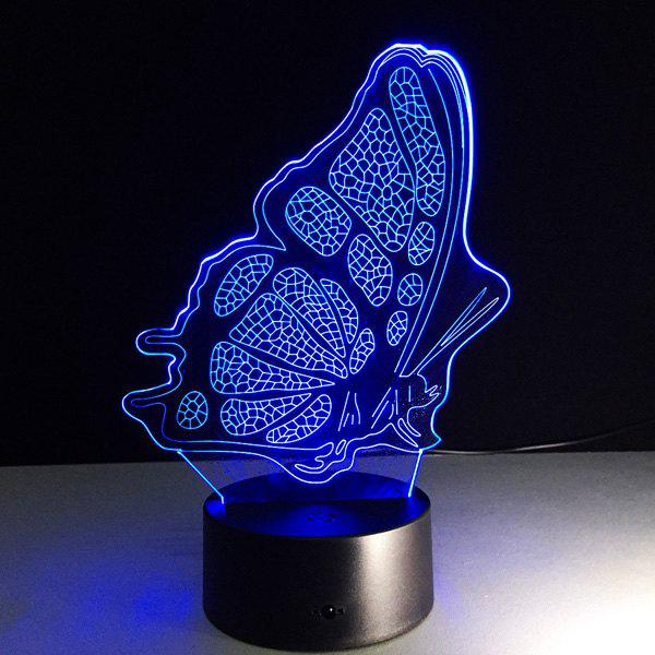 Colorful Butterfly Shape 3D Visual LED Touching Table Night Light - COLORFUL