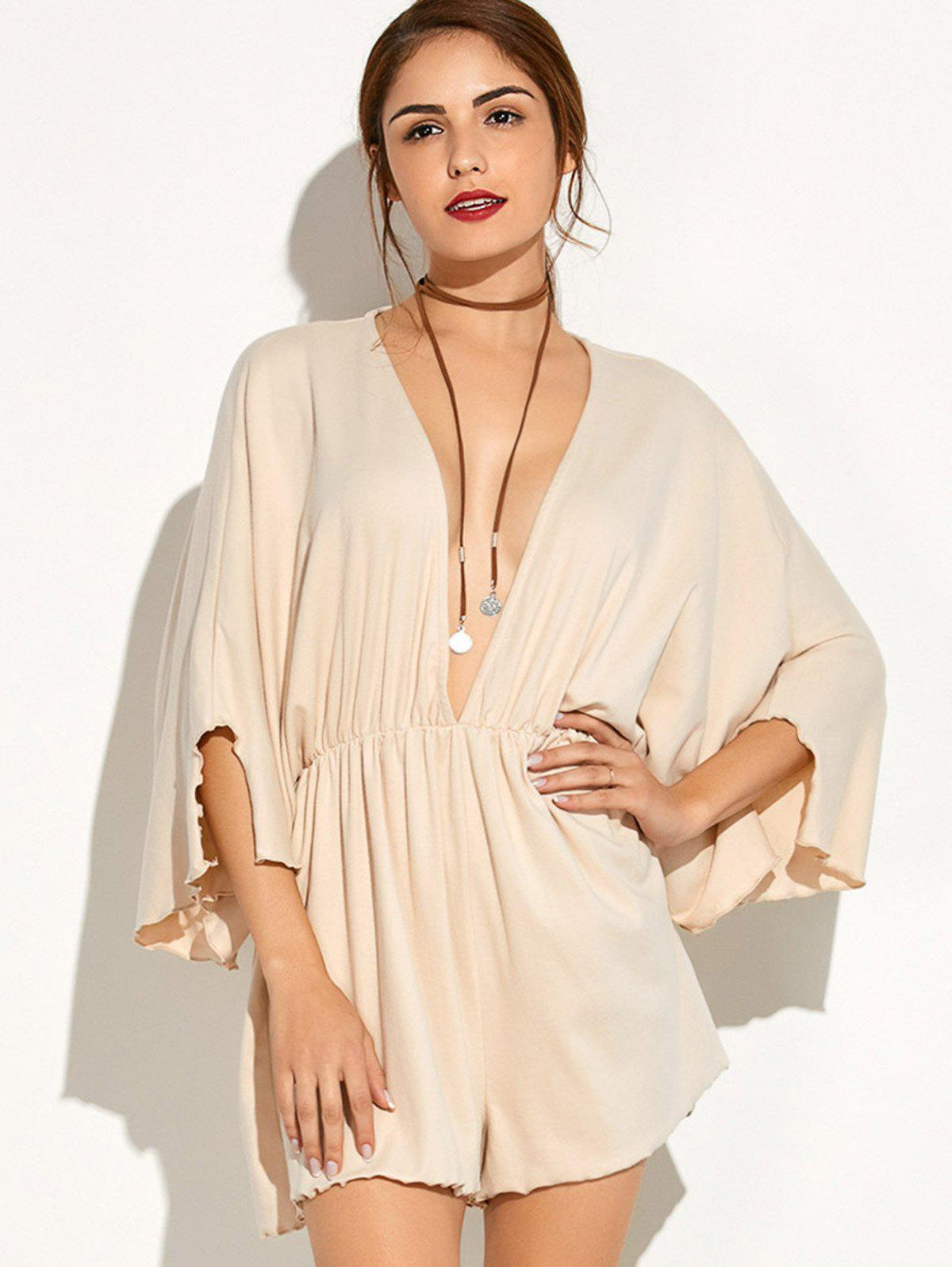 Plunging Neck Batwing Sleeve Romper - BEIGE S