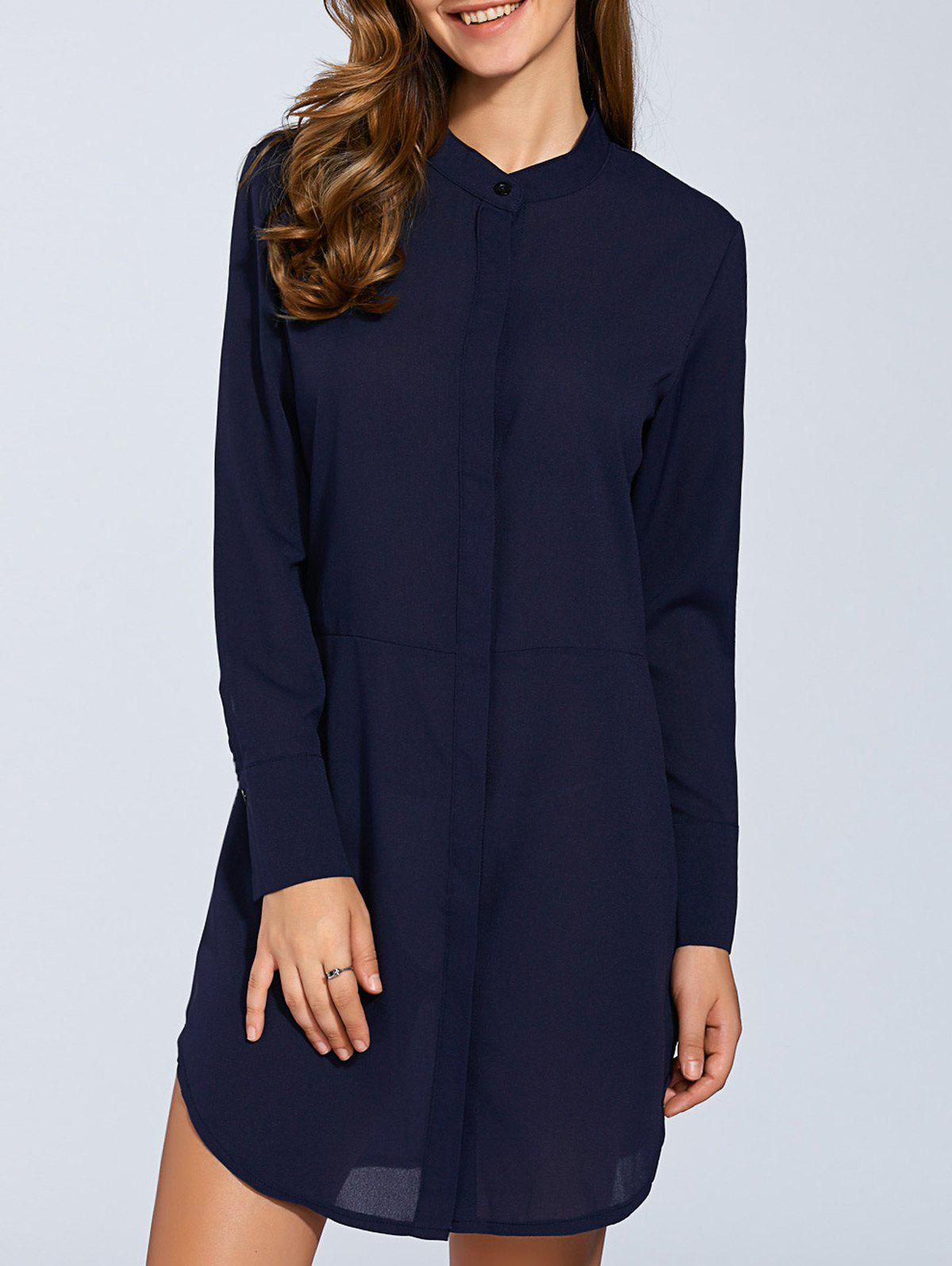 Rounded Hem Long Sleeve Shirt Dress - BLUE S
