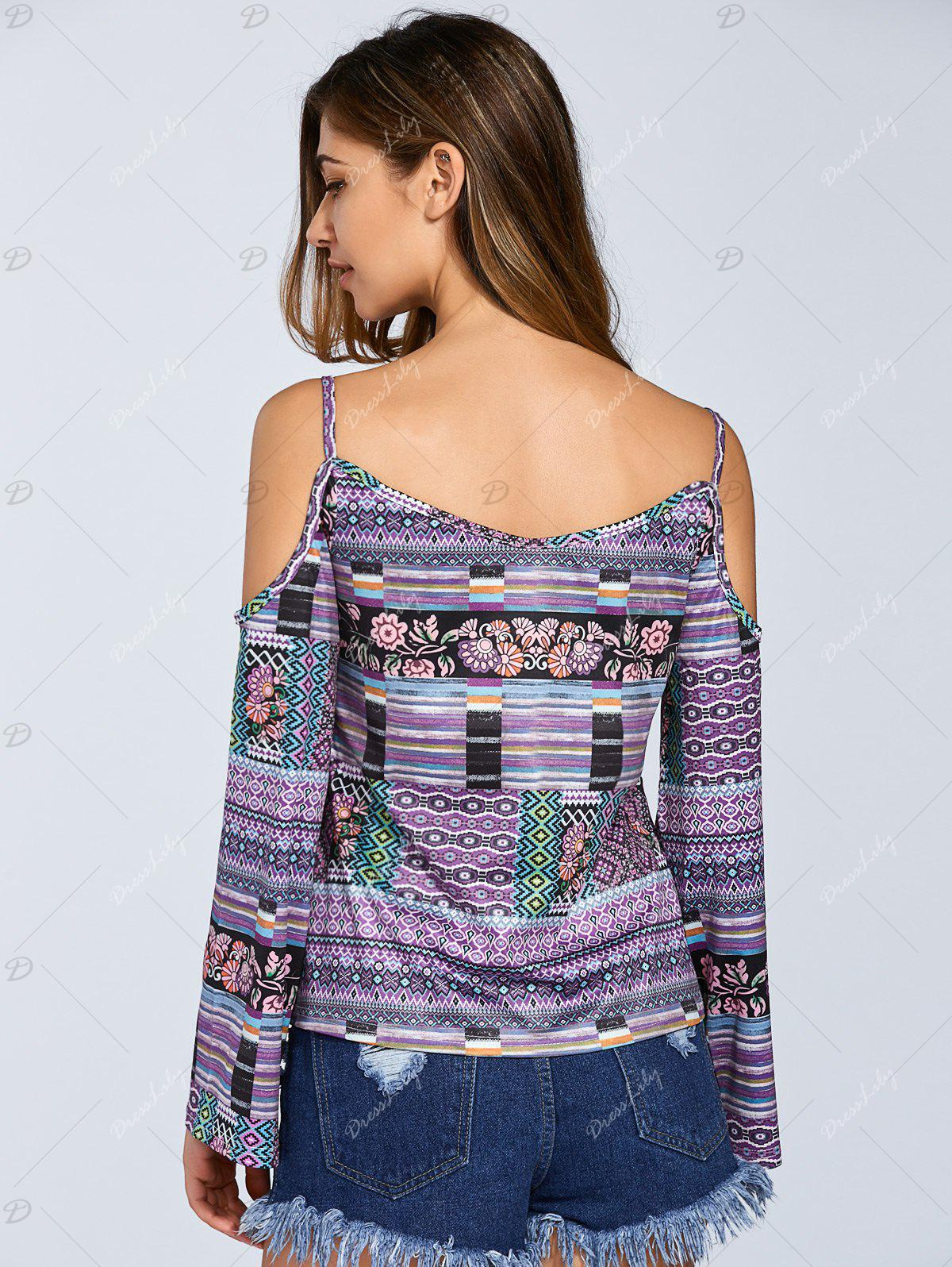 Long Sleeve Printed Cold Shoulder Top - COLORMIX S