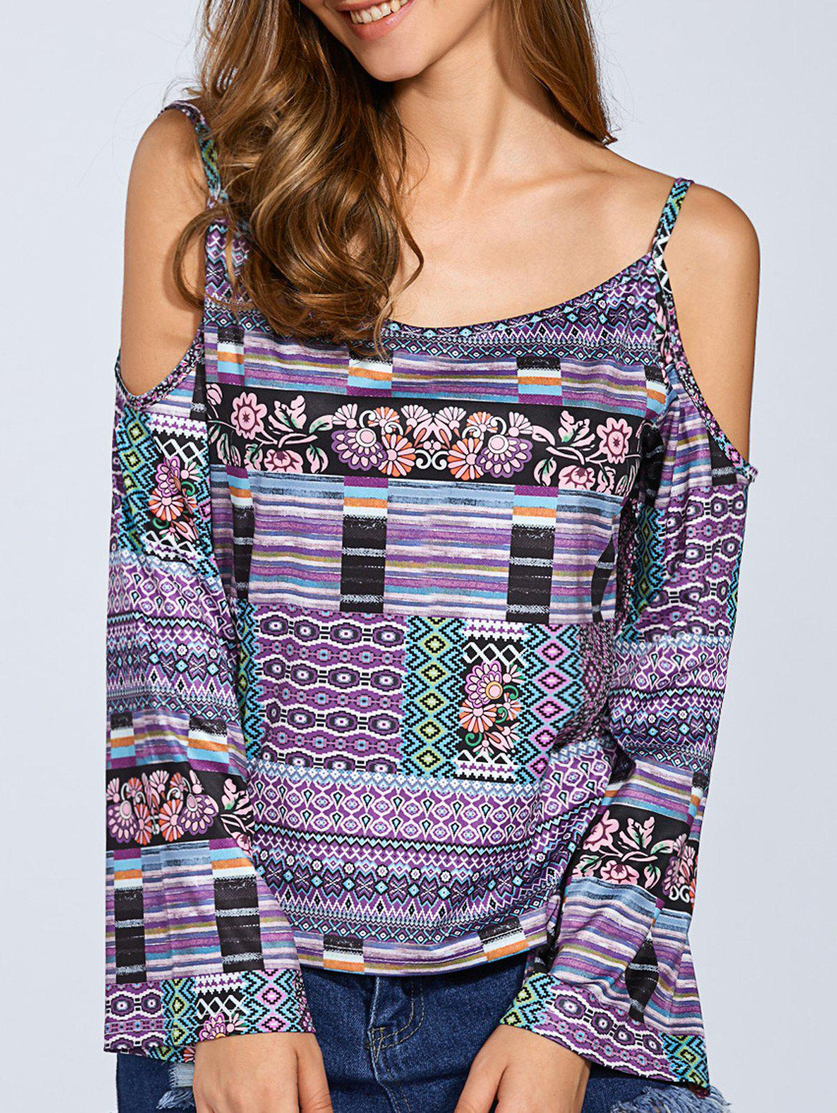 Long Sleeve Printed Cold Shoulder Top - COLORMIX L