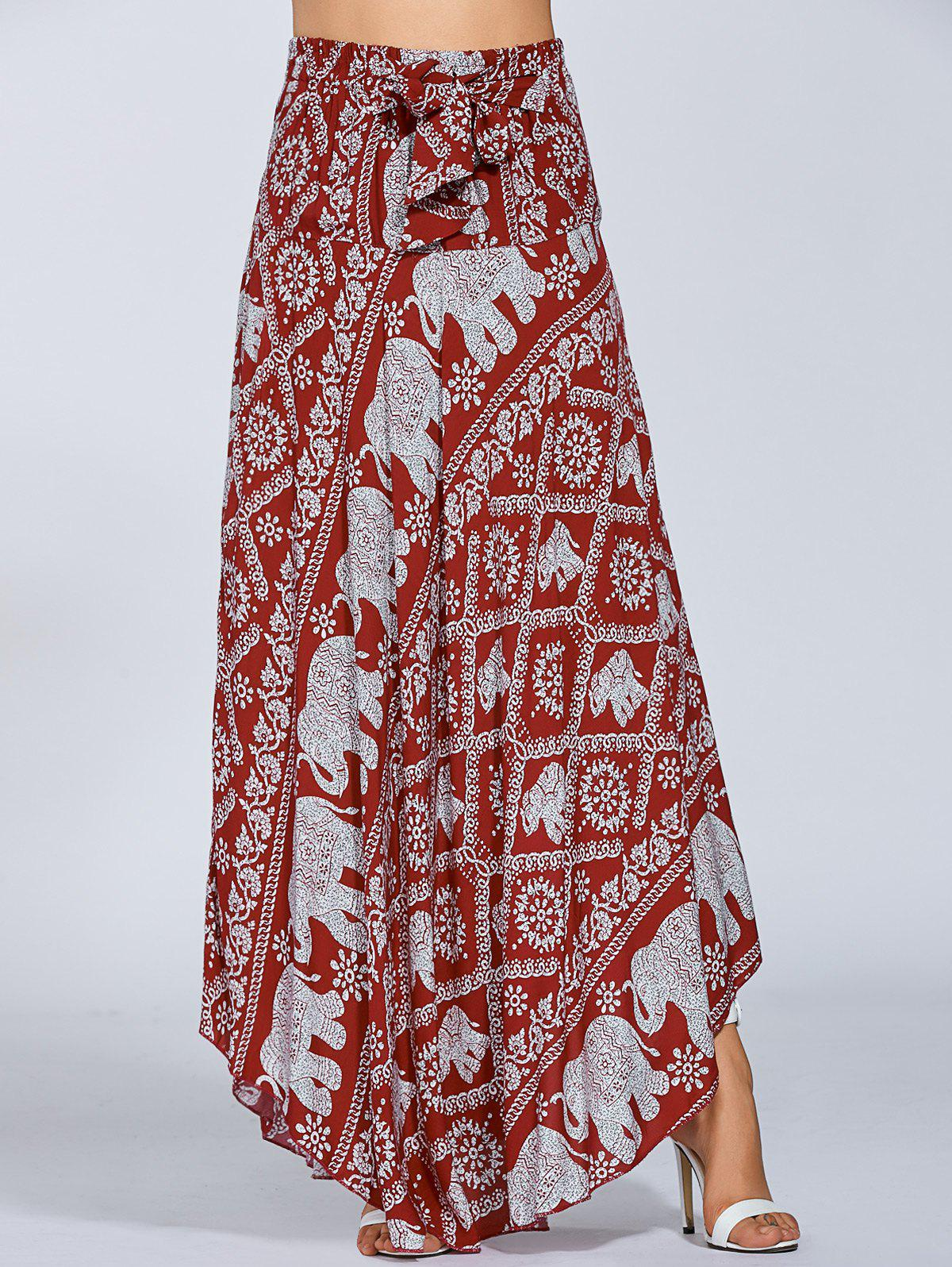 High Waisted Elephant Print Maxi Skirt - RED ONE SIZE