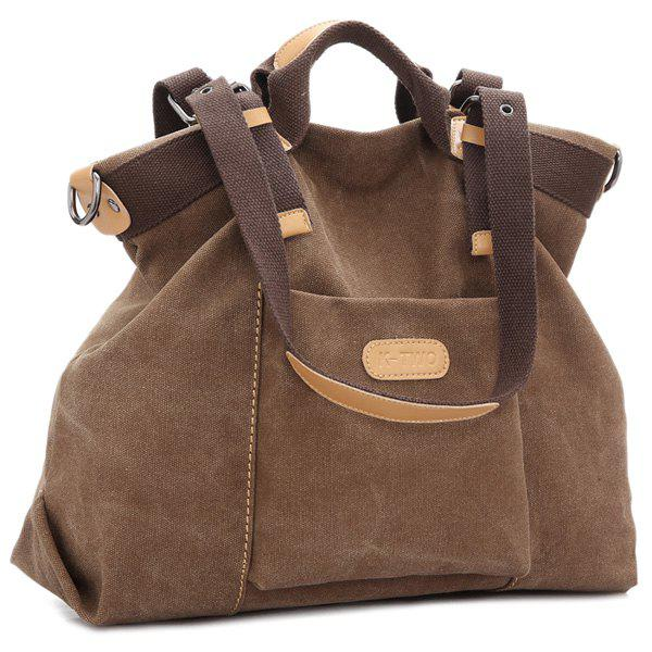 Colour Spliced Canvas Buckles Shoulder Bag - BROWN
