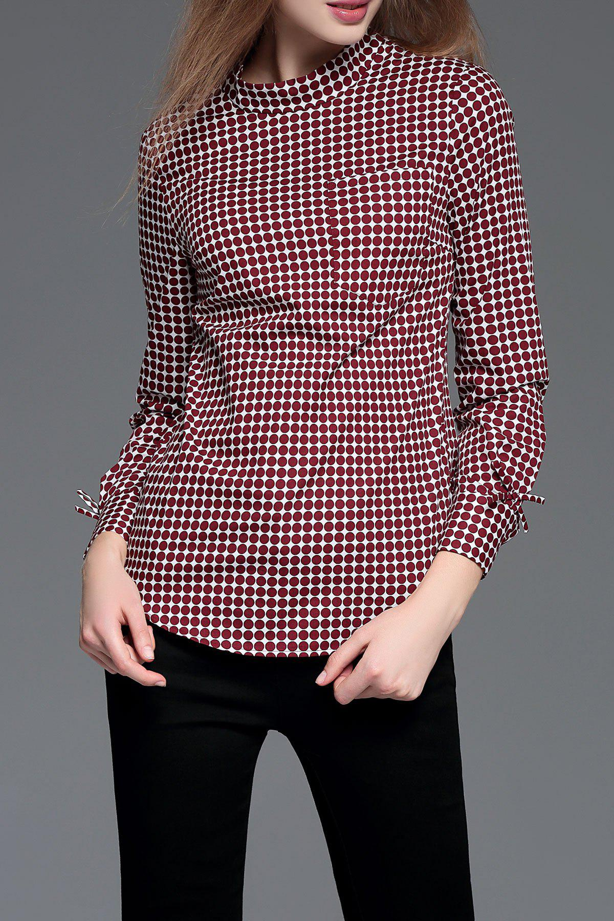 Stand Collar Polka Dot Blouse - WINE RED XS