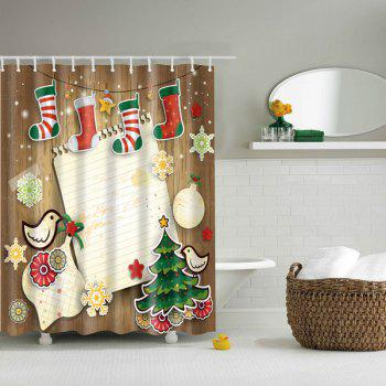 Waterproof 3D Merry Christmas Printed Shower Curtain - COLORFUL L