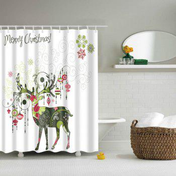 Artistic Christmas Deer Printed Waterproof Bath Shower Curtain