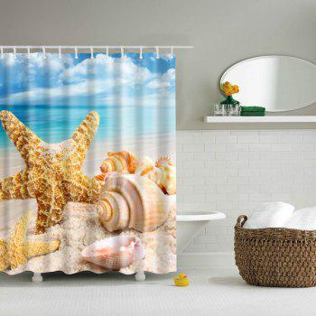 Waterproof  Sea Starfish Shell Printed Bathroom Shower Curtain