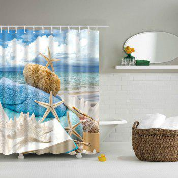 Waterproof 3D Beach Starfish Printed Bathroom Shower Curtain