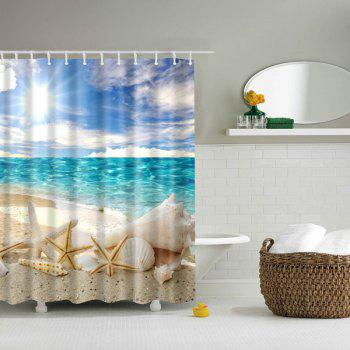 3D Beach Shell Printed Bathroom Waterproof Shower Curtain
