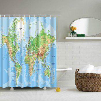 3D World Map Printed Bathroom Waterproof Shower Curtain