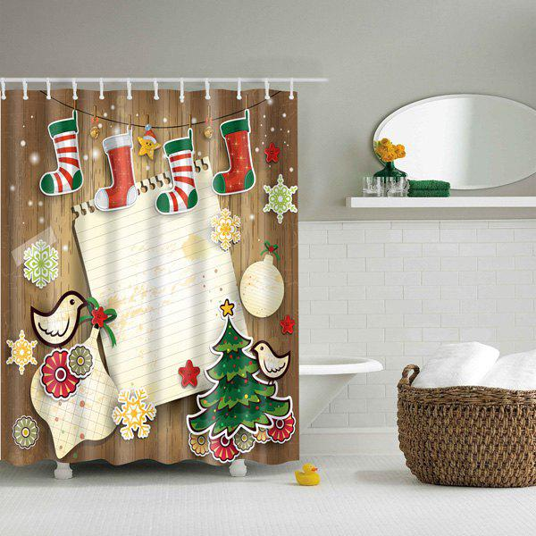 Waterproof 3D Merry Christmas Printed Shower Curtain - COLORFUL M