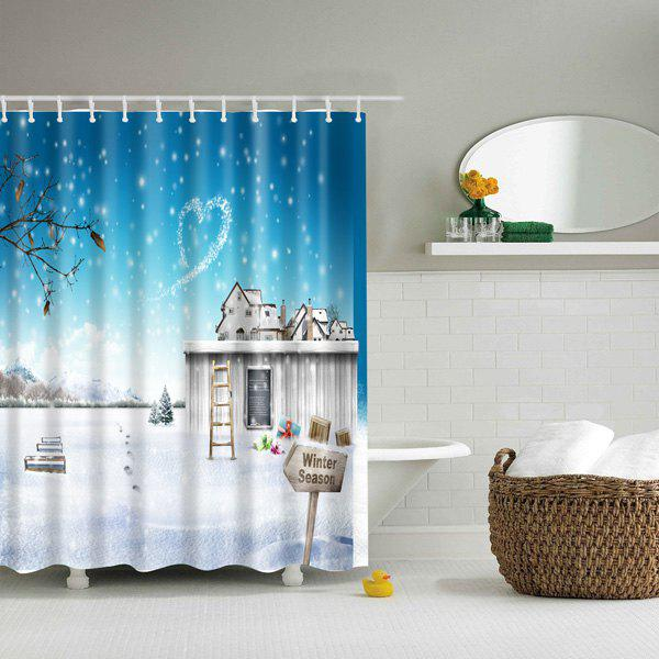 Waterproof 3D Winter Snow Scenery Printed Shower Curtain nature scenery printed polyester waterproof shower curtain
