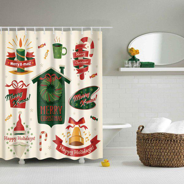 Waterproof Mouldproof Merry Christmas Printed Shower CurtainHome<br><br><br>Size: M<br>Color: COLORMIX