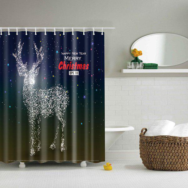 Merry Christmas Deer Printed Waterproof Bathroom Shower Curtain bathroom waterproof merry christmas pattern shower curtain