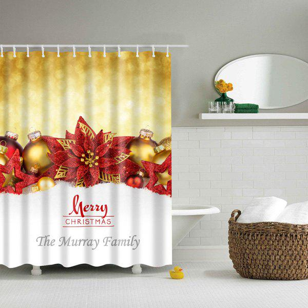 Merry Christmas Printed Bathroom Waterproof Shower Curtain bathroom waterproof merry christmas pattern shower curtain
