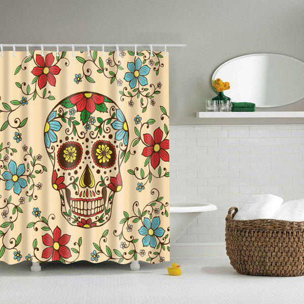 Bathroom Waterproof Floral Skull Mouldproof Shower Curtain - COLORMIX L