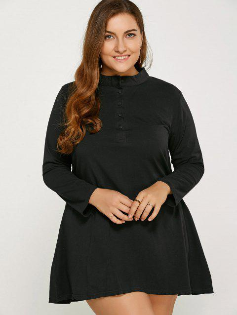 Long Sleeve Plus Size Dress - Noir 5XL