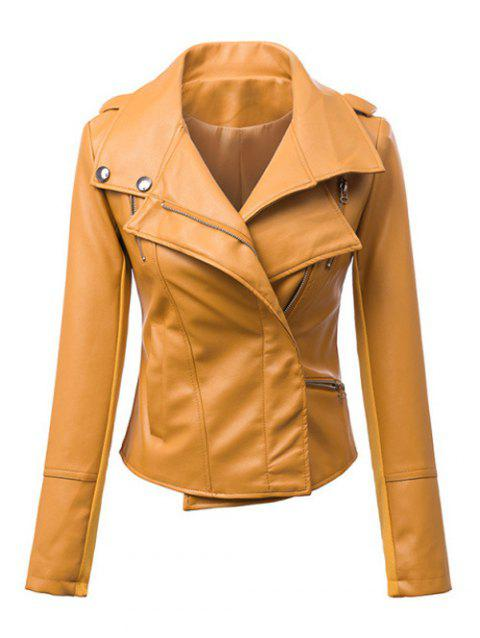 Zipper Design Faux Leather Biker Jacket - EARTHY S