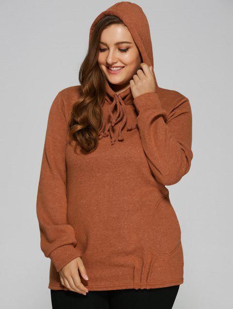 Slouchy Pullover Hoodie With Pockets - TEA COLORED M