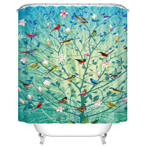 Waterproof Mouldproof Colorful Floral Birds Printed Shower Curtain - COLORMIX S