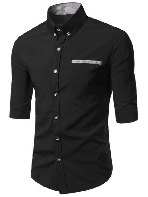 s 'Edging design Turn-Down Collar Men  Shirt - Noir XL
