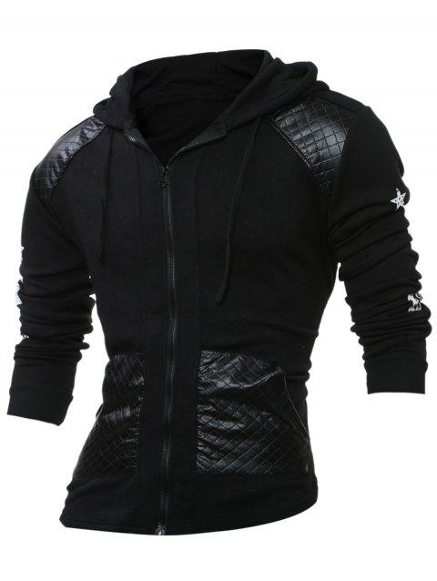 PU Leather Splicing Stars Print Zipper Hoodie - BLACK XL