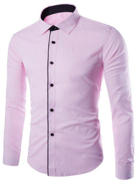 Slimming Color Block Button Design Long Sleeve Shirt - PINK 2XL