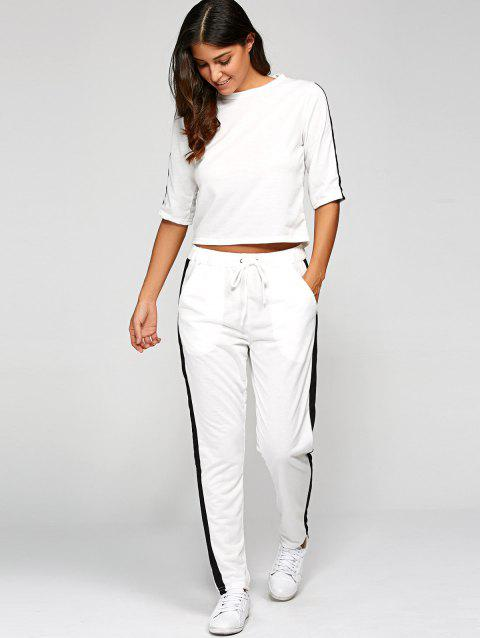 1/2 Sleeve T Shirt With Pants - WHITE M