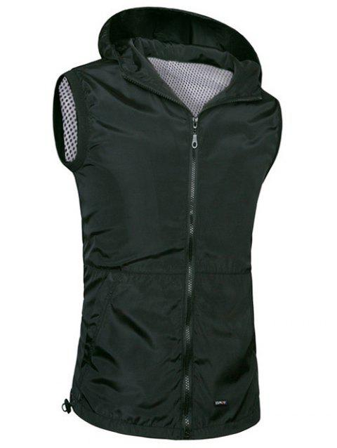 Brief Style Zipper Flying Casual Hooded Vest For Men - BLACK L