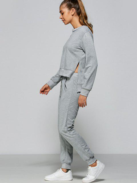 Sweat-shirt Haut Bas Fendu +Pantalon de Sport - Gris L