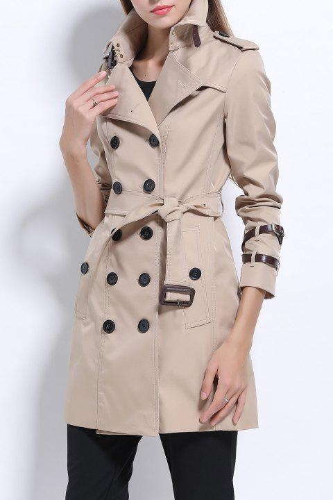 Double Coat Breasted Cotton Trench - Kaki Léger S