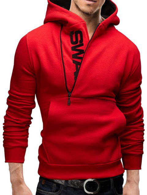 IZZUMI Pocket Front Long Sleeve Side Half-Zip Up Hoodie - RED XL