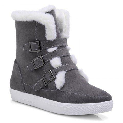 Fuzzy Buckle Straps Suede Short Boots - GRAY 40