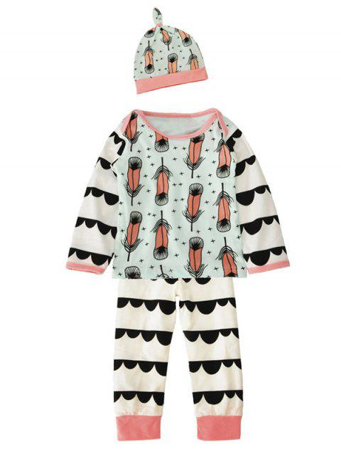 Baby Newborn Toddler Feather Printed Long Sleeve T Shirt Pants Cap 3 Pieces Pajamas Sets - WHITE 80