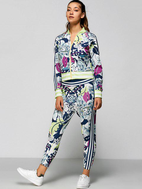 Zip Up Printed Top with Ankle Pencil Pants - COLORMIX XL