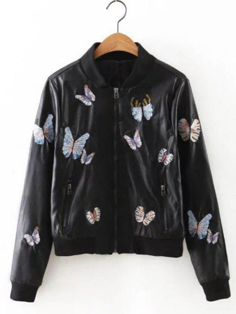 Butterfly Embroidered Faux Leather Jacket - BLACK S