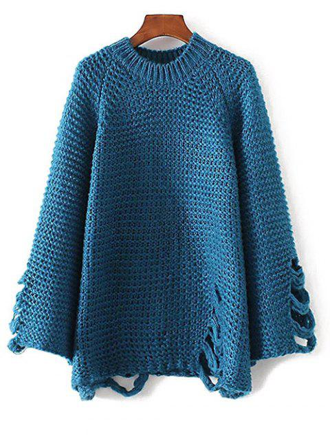 Ripped surdimensionnées Chunky Sweater - Lac bleu ONE SIZE
