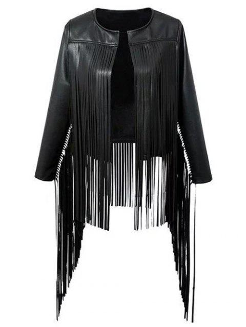 Fringed  Faux Leather Asymmetric Jacket - BLACK L