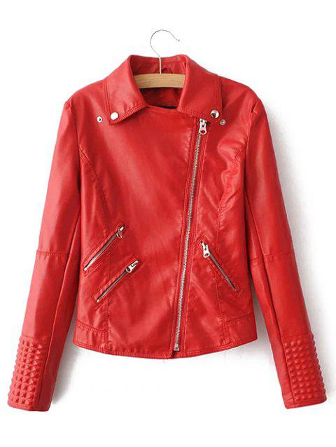 Preppy Style Zip Up Short Jacket - RED L