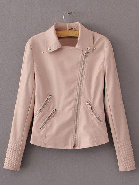 Preppy Style Zip Up Short Jacket - PINKBEIGE L