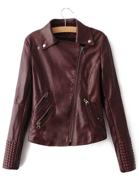 Preppy Style Zip Up Short Jacket - WINE RED L