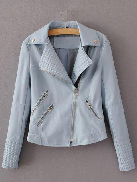 Preppy Style Zip Up Short Jacket - LIGHT BLUE S