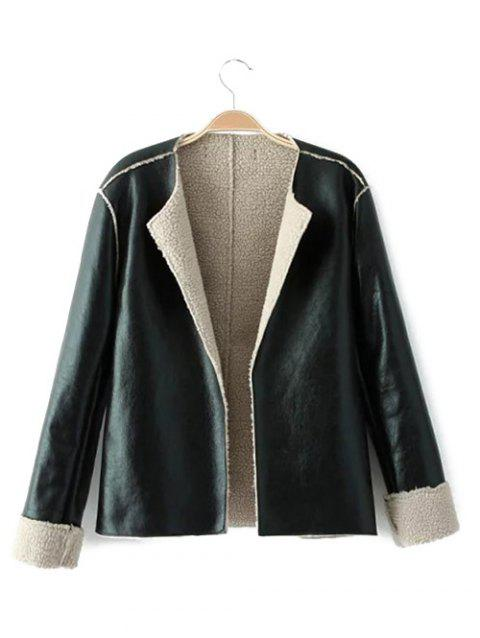 Loose Fit Shearling Faux Leather Jacket - BLACK S
