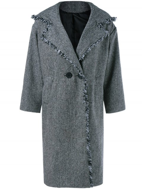 Plaid Wool Blend Hooded Coat - GRAY ONE SIZE