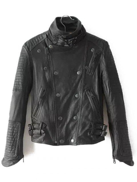 Buckled Patched Punk Jacket - BLACK S
