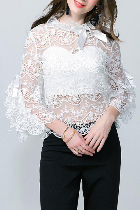 49e52366221a 80% OFF] 2019 Flare Sleeve Lace See Thru Blouse With Tube Top In ...