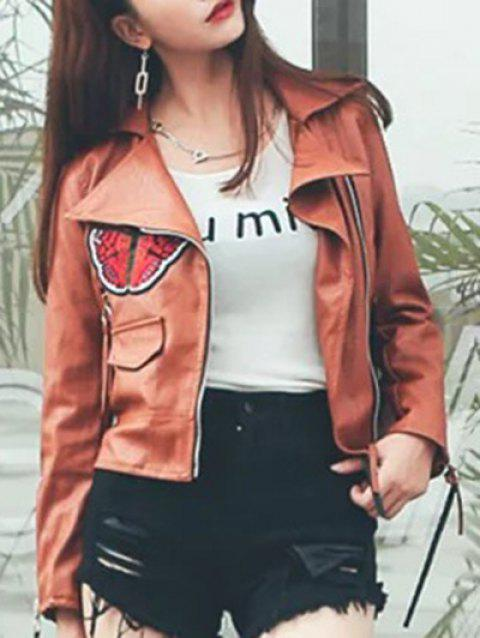 Embroidery Patched Faux Leather Jacket - LIGHT BROWN S
