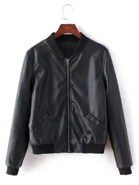 Padded Faux Leather Jacket - BLACK L