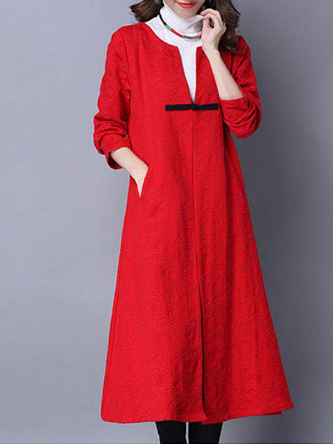 Jacquard One Button Pocket Design Coat - RED XL