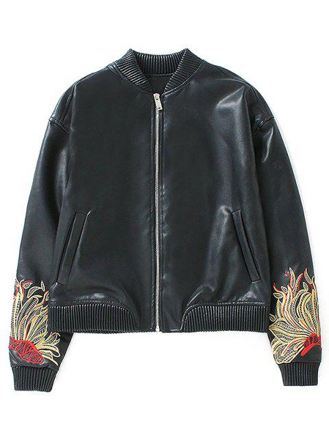 Flower Embroidered Faux Leather Bomber Jacket - BLACK L